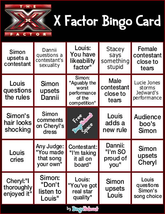 X Factor Bingo Card